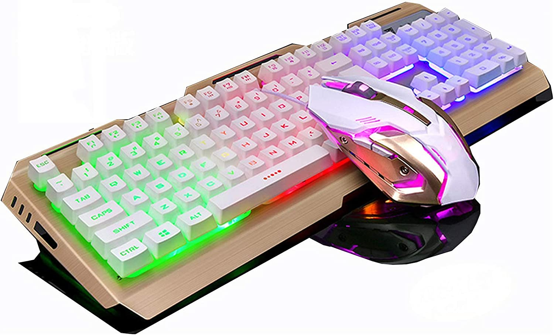 USB Wired Luminous Metal RGB Gaming Keyboard LED Ergonomic Mechanical Feel Gaming Keyboard for Laptop PC Keyboard Mice(Color:F) DAKSL (Color : E)