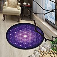 Dark Blue Round Area Rug Carpet Flower of Life with Stars Spiritual Symbol Sacred Geometry AncientOriental Floor and Carpets Dark Blue Pink Purple