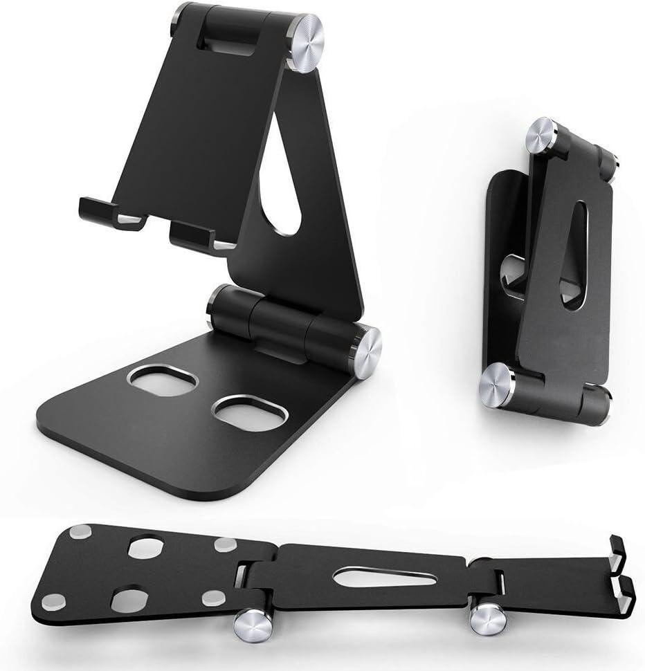 plegable soporte de aluminio negro ajustable de doble rotaci/ón soporte de escritorio para interruptor Surface Pro iPad iPhone Samsung tel/éfono m/óvil Urvoix Soporte para tel/éfono m/óvil universal