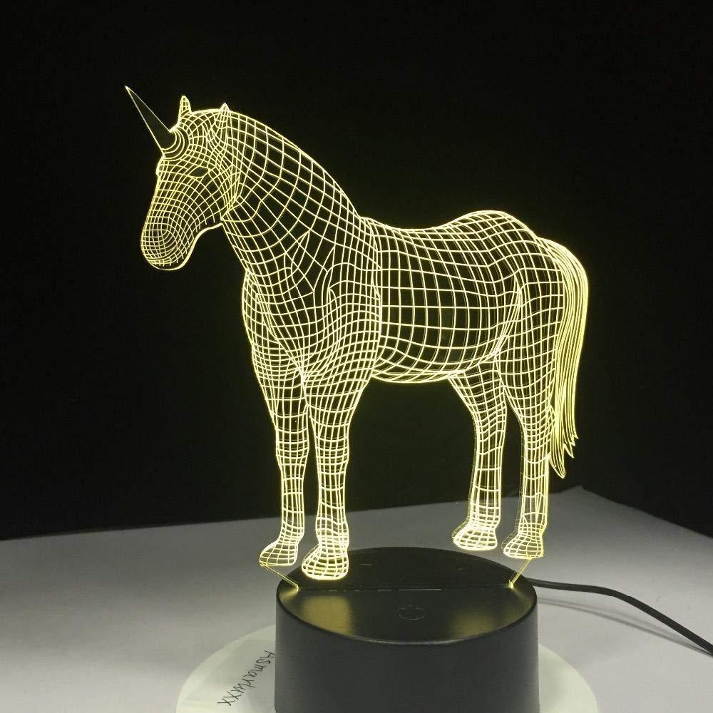 L/ámpara de ilusi/ón /óptica 3D Escritorio Luz de noche Dormitorio LED para ni/ños y regalo de Navidad Unicornio USB con holograma
