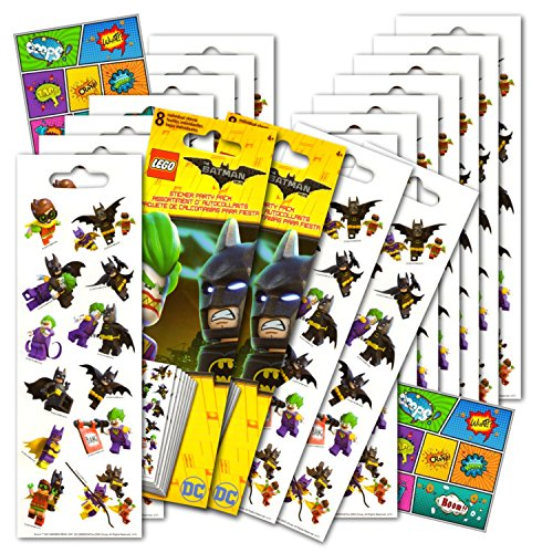 Lego Batman Stickers Party Favors Pack - 16 Sheets of Lego Batman Stickers Bundled with 2 Specialty Separately Licensed GWW Reward -