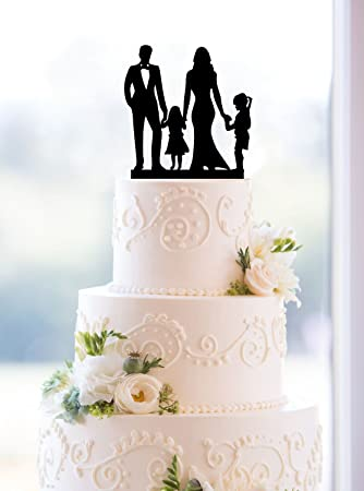 Amazon Com Wedding Anniversary Cake Topper Couple With 2 Kids 2