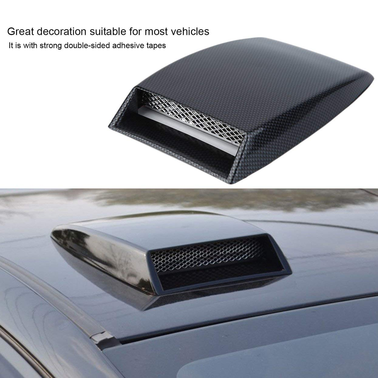 3 colori stile auto Universal Decorative Air Flow Aspirazione Scoop Turbo Bonnet Vent Cover Hood Argento//bianco//nero car styling