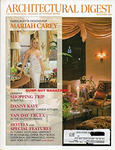 Architectural Digest 2001 Magazine MARIO BUATTA DESIGNS FOR MARIAH CAREY Danny Kaye And His Legendary Chinese Kitchen VAN DAY TRUEX IN THE SOUTH OF FRANCE