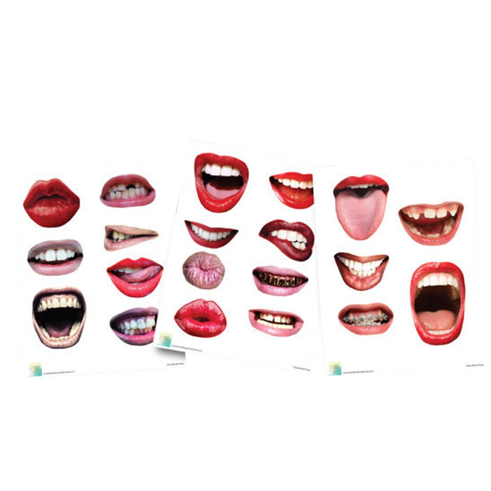 20 Pcs Emoji Mouth Photo Booth Props Lip Mask Birthday Wedding Party Game Accessories by Funbase (Image #2)