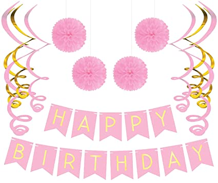 Birthday Party Pack Pastel Pink Happy Bunting Poms And Swirls Decorations
