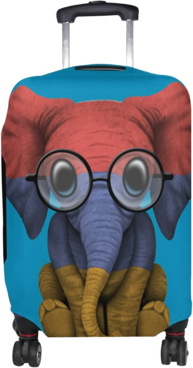 Jennifer Armenian Flag Baby Elephant With Glasses Travel Luggage Covers Suitcase Protector Fits 18-20 in