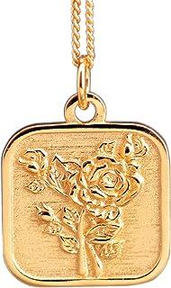 NicoWerk Damen Silberkette mit Anhänger Viereck aus 925 Sterling Silber Rose Golden Charm SKE273
