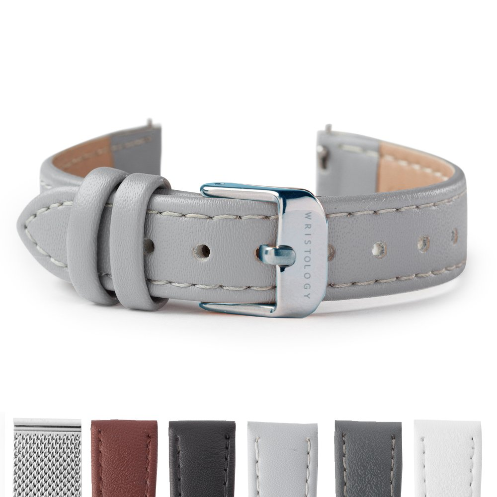 WRISTOLOGY Silver 14mm Womens Easy Interchangeable Stitched Leather Watch Band (Gray)