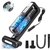 【Upgraded Version 】 FOXNOVO 6000PA Car Vacuum Cleaner High Power Suction, DC 12V Portable Vacuum Cleaner for Car with Led Light and Stainless Steel Filter Wet/Dry Handheld Vacuum Cleaner for Car