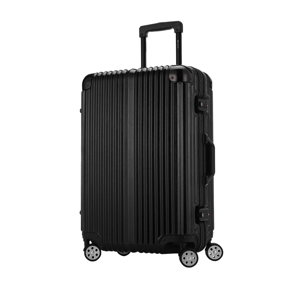 [トラベルハウス]Travelhouse スーツケース キャリーバッグ アルミフレーム ABS+PC 鏡面 超軽量 TSAロック B01M0TTJ0I M|ブラック(Bタイプ) ブラック(Bタイプ) M