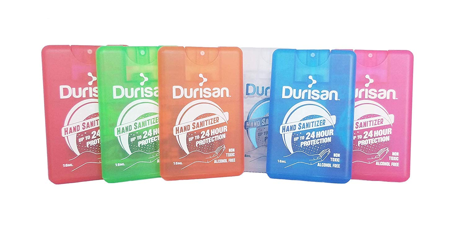 Durisan Travel Hand Sanitizer Alcohol-Free, Long-Lasting, No Odor, Non Toxic, 24 Hour Protection 18 Milliliter Set of 6 Assorted Colors: Industrial & Scientific