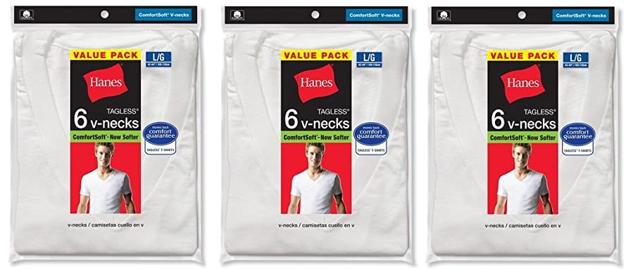 Hanes Mens 18Pack White V-Neck Tagless 100% Cotton Undershirts T-Shirts 2XL