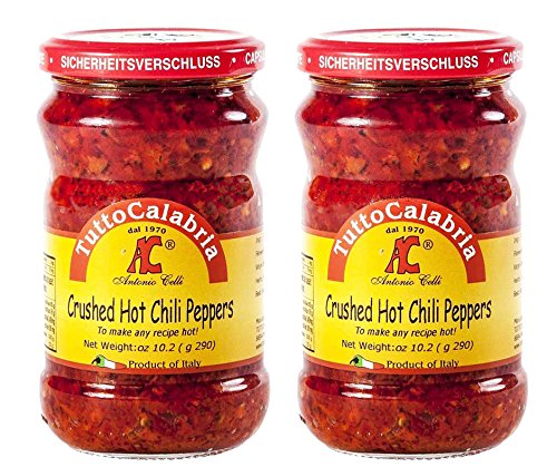 Hot Pepper Italian (Tutto Calabria Hot Chili Peppers Crushed. In Glass 2 Pack. Imported Calabria Italy.)