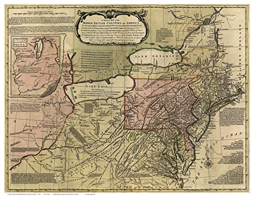 Middle British Colonies in America 1765 Map - Colonial USA Reprint (1765 Art)