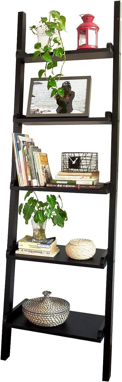 SoBuy® Moderna estantería escalonada, Estantería de Pared,estanteria libreria FRG17-SCH(5 estantes/Negro)