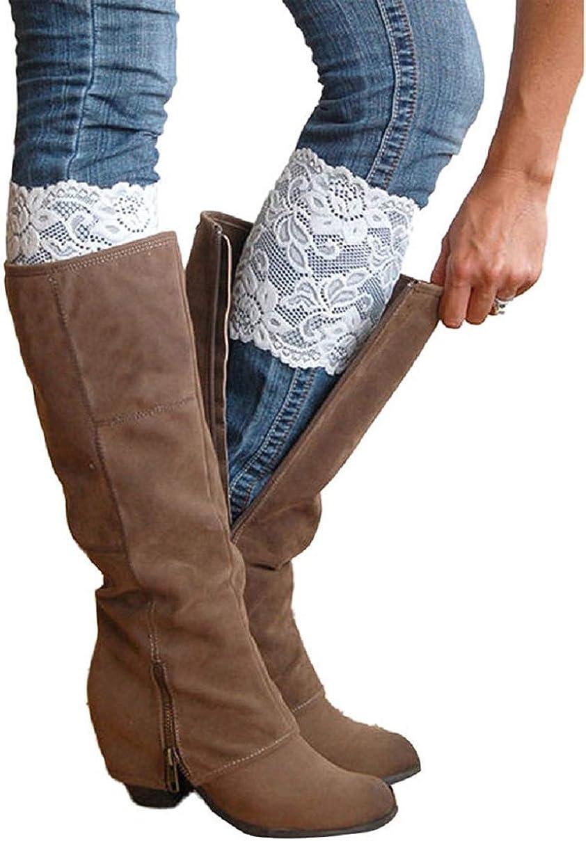 Ladies Boot Cuffs Knitted Stretch BLACK WITH STUDS Women/'s Leg Warmer Cuff
