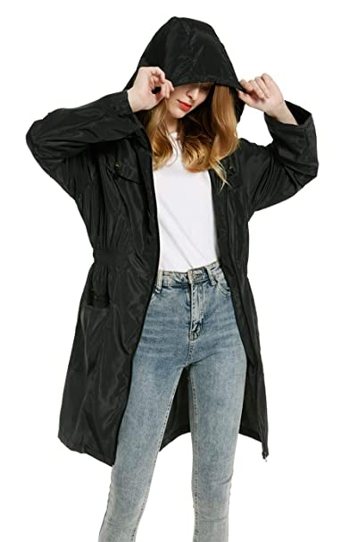 Chaqueta Impermeable Mujer Ligera con Capucha Ajustable Abrigo Impermeable Parka Mujer Chaqueta Manga Larga Seco Rápido Rompevientos