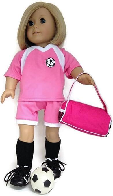 "/& Ball fits 18/"" American Girl Doll Clothes Pink Soccer Short Set Duffle Bag"