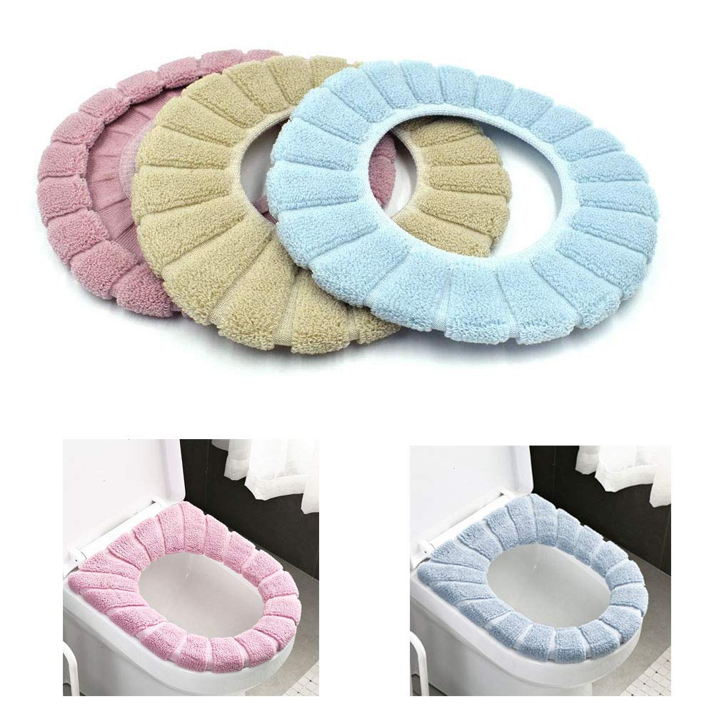 Homiest 3 Pcs Bathroom Soft Thicker Warmer Stretchable Washable Cloth Easy Installation Toilet Seat Cover Pads (Blue, Pink, Brown) by Homiest