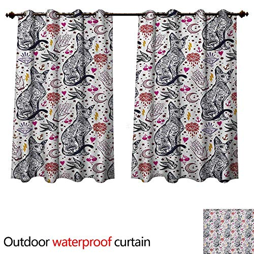 (WilliamsDecor Egyptian Outdoor Balcony Privacy Curtain Traditional Tattoo Pattern with Gothic Magic Icons Witchcraft Symbols Kitty Hands W84 x L72(214cm x 183cm))