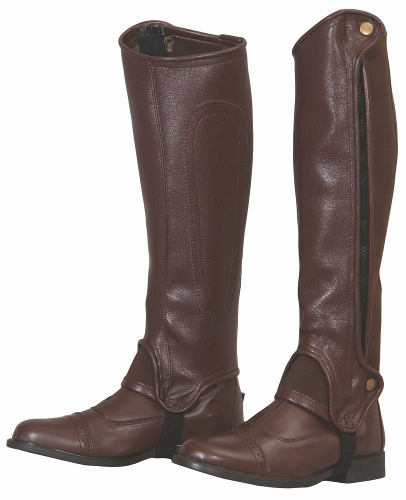 Steampunk Boots & Shoes, Heels & Flats TuffRider Grippy Grain Half Chaps Large Black $55.95 AT vintagedancer.com