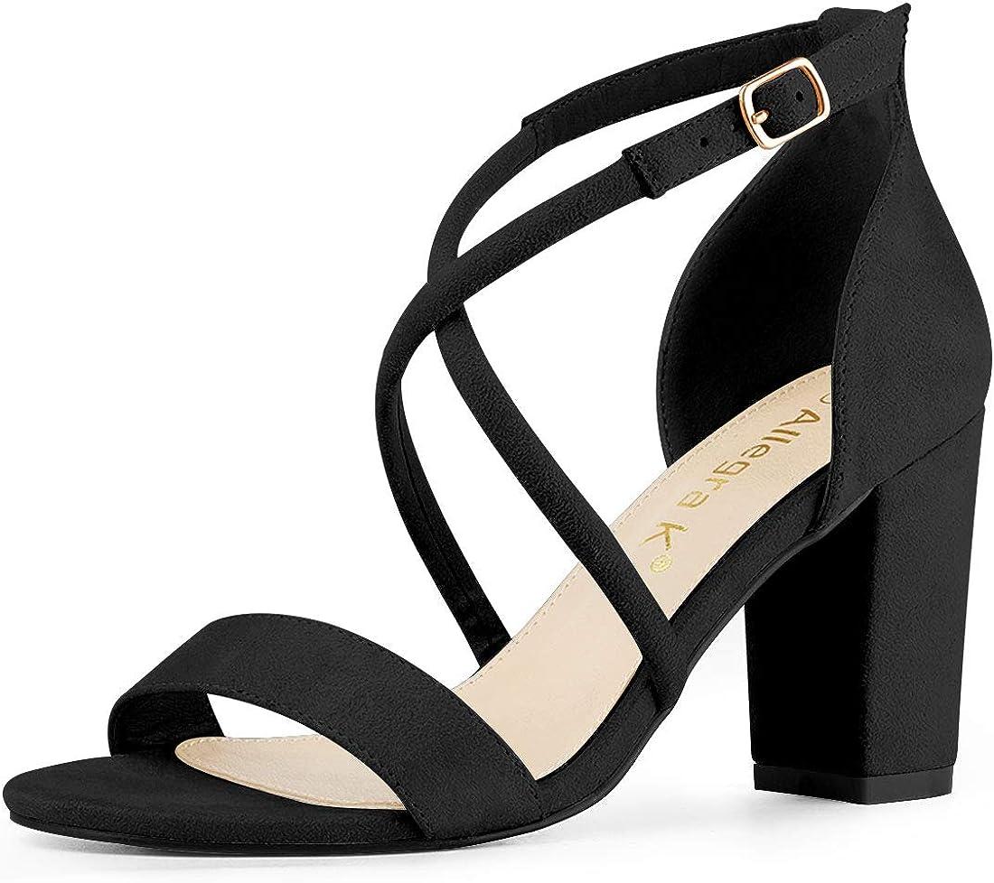 Allegra K Womens Crisscross Ankle Strap Block Heels Sandals
