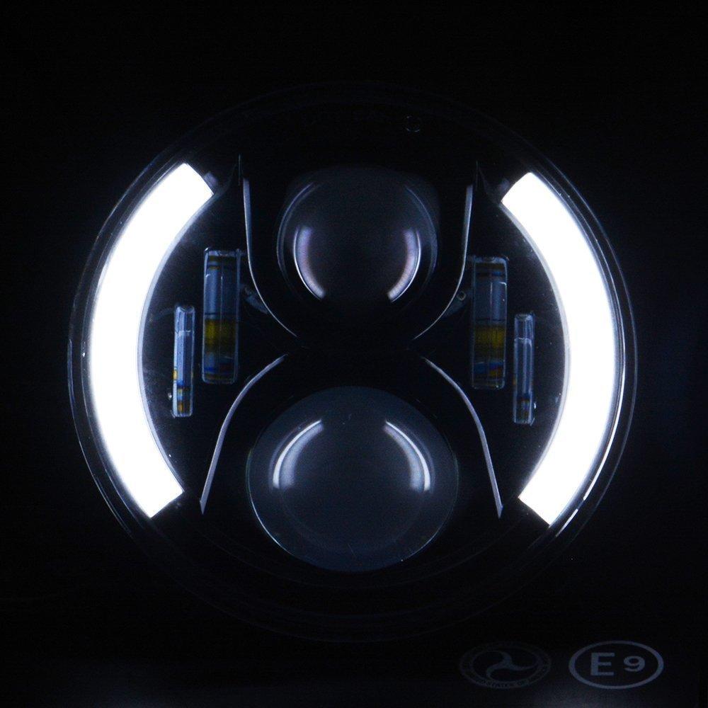 TURBO SII Pair For Jeep wrangler JKU JK CJ TJ LJProjector Headlight Angel eye 7 Inch Led Headlight Bulb Functional DRL White Halo + Amber turn singal Hi/Lo Beam Fit For Jk Tj Fj Cruiser Hummer H1 H2 by TURBOSII (Image #6)
