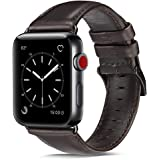 OUHENG Compatible with Apple Watch Band 42mm 44mm, Genuine Leather Band Replacement Compatible with Apple Watch Series 4 Series 3 Series 2 Series 1 (42mm 44mm), Brownish Black Band with Black Adapter