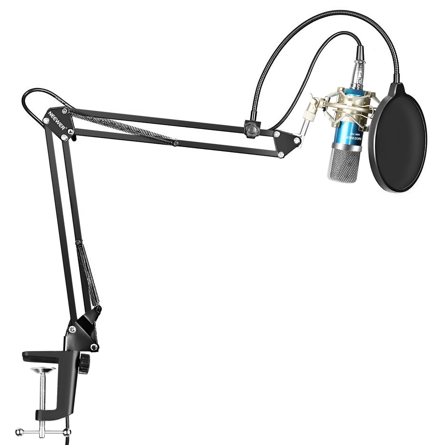 Neewer Professional Studio Broadcasting Recording Condenser Microphone & NW-35 Adjustable Recording Microphone Suspension Scissor Arm Stand with Shock Mount and Mounting Clamp Kit, Blue by Neewer
