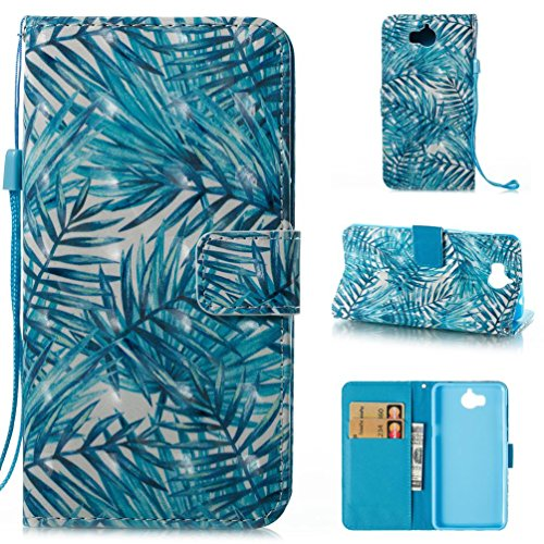 Huawei Y5 2017 / Y6 2017 Case,Premium TPU Leather Shockproof Case Card Slot Holder Magnetic Detachable Back Cover Card Holder Slot Wrist Strap Wallet Cover Case for Huawei Y5 2017 / Y6 2017 -Leaves
