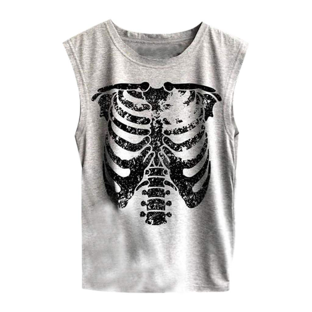 Fashion Womens O-Neck Printing Sleeveless Vest Blouse Loose Shirt Tops