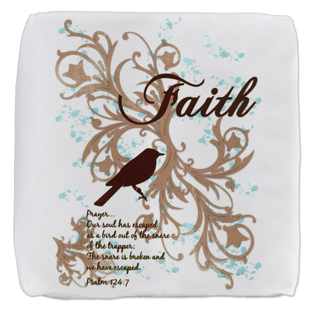 13 Inch 6-Sided Cube Ottoman Faith Prayer Dove Christian Cross by Royal Lion