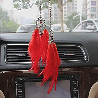 Car Rear View Mirror Hanging Pendant, Feather Dream Catcher Crystal Charm Bling Car Deco Accessories for Women (Red): Automotive