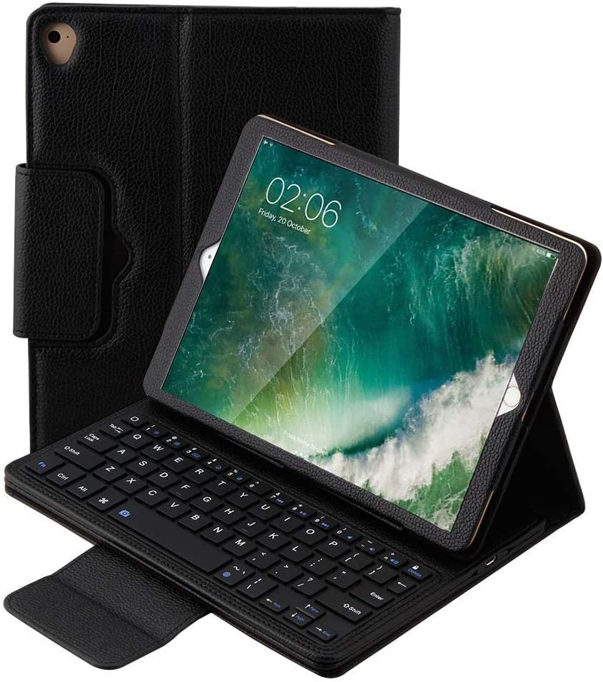iPad 6th Generation Cases with Keyboard, New iPad 9.7 2018 2017 / iPad Pro 9.7 / iPad Air 2 & 1 Keyboard Case, YMH Leather Durable Detachable Magnetic Auto Sleep Wake Wireless BT Keyboard Case (01)