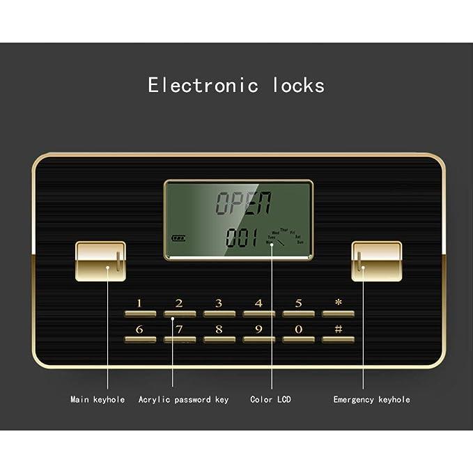 Cajas Fuertes Caja de Seguridad de Acero Huella de la Clave de Bloqueo electr/ónico de Acero Hucha de Oro 3 Capas 38X33X45cm Seguros Seguridad Safe Color : Gold 1