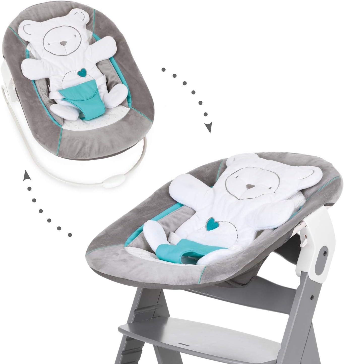 Hauck Alpha Bouncer - 2 en 1 para recién nacido, hamaca de tejido suave, combinable con trona de madera evolutiva Alpha+ y Beta+ de HAUCK, incluido reductor, mecedora para bebes, Gris (Hearts Grey)