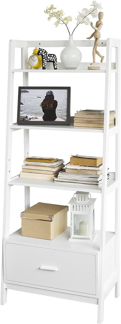 SoBuy Estantería en Escalera de Madera, Estanterías Librerias, Estanterias de Diseño, FRG116-W, ES