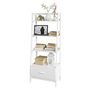 SoBuy FRG116 W, White Storage Display Shelving Ladder Shelf Bookcase Drawer  4 Shelves,