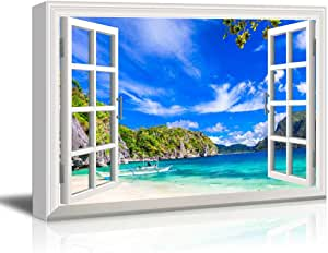 Amazon Com Wall26 Creative Window View Canvas Prints Wall Art Panorama Of Beautiful Beach In El Nido Palawan Philippines 24 X 36 Posters Prints