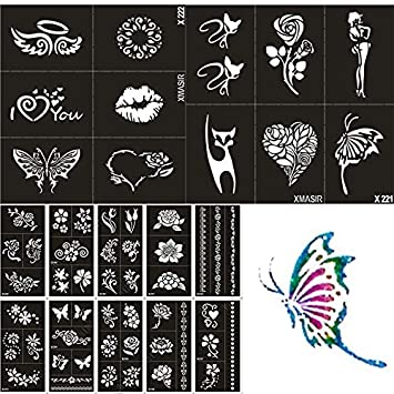Amazon.com : 22 Sheet Henna Tattoo Stencils Kit for Women Kids ...