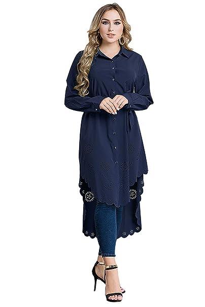 Mujer Musulmana Vestimenta Casual Blusa Camisa Botón Collar Manga Larga Más Talla Blusa Túnica Larga blusa