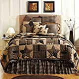 Bingham Star King Quilt Bundle - 9 Pc Set Includes: 1 King Quilt, 2 King Shams, 1 King Bed Skirt, 2 Euro Shams, 1 Accent Pillow, 2 Pillows