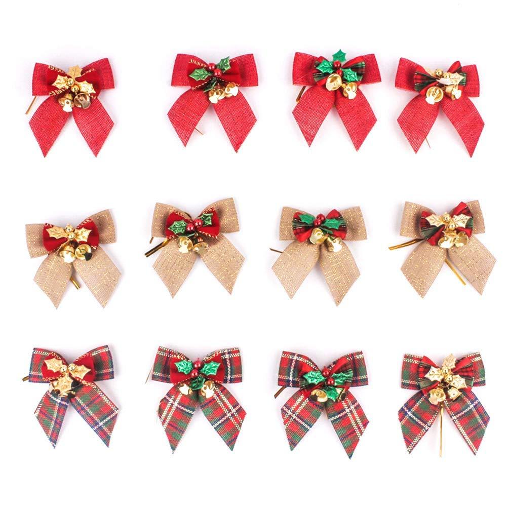 Xunlong - Lote de 12 Lazos de Navidad con Campanas para árbol de ...