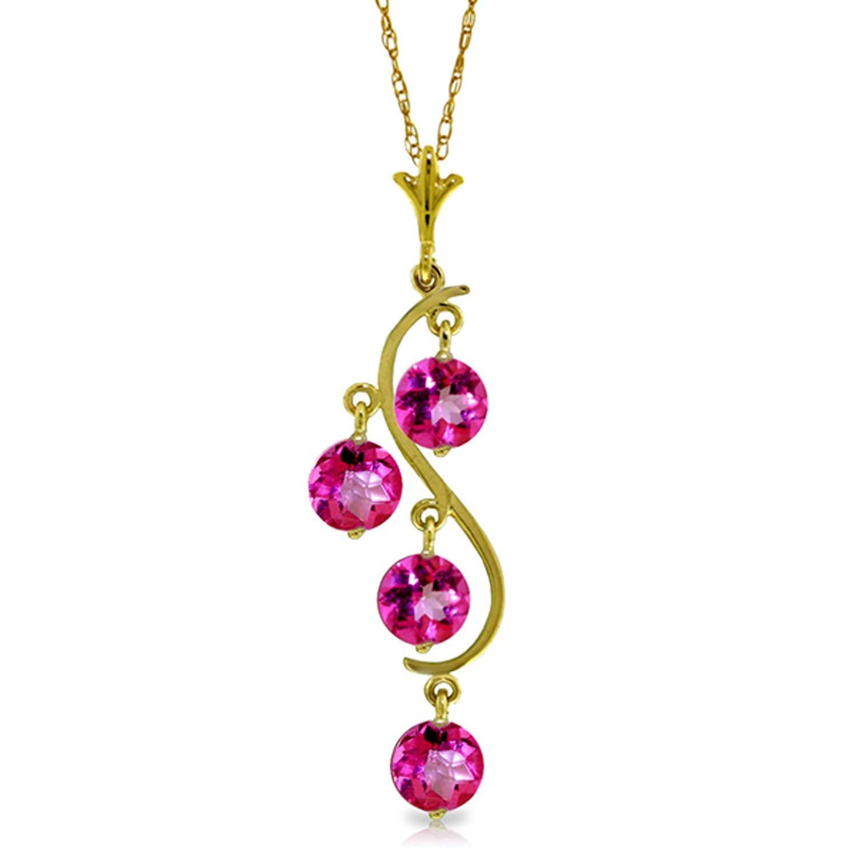 ALARRI 14K Solid Rose Gold Necklace w// Natural Pink Topaz