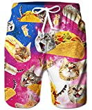 TUONROAD Mens Summer Short Boardshorts 3D Printed Floral Bathing Trunks Blue Purple Galavey Space Mouth Cat Popular Trunks Shorts,Large,Pizza Cat
