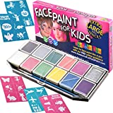 Halloween Face Paint for Kids | Face Painting Kit - X-Large Jumbo Palette with 32 Stencils, Glitter and Sturdy Case. Professional Water-Based Non-Toxic Face & Body Set, Bonus e-Book for Every Customer