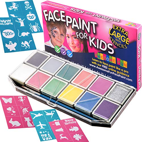 Halloween Face Paint for Kids | Face Painting Kit - X-Large Jumbo Palette with 32 Stencils, Glitter and Sturdy Case. Professional Water-Based Non-Toxic Face & Body Set, Bonus e-Book for Every Customer -