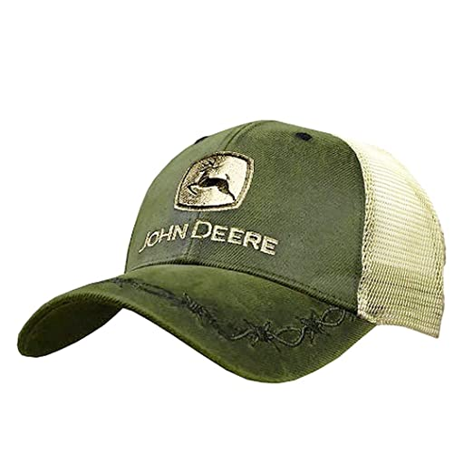 b03dddb1d39 Image Unavailable. Image not available for. Color  John Deere Mens Oilskin  Khaki Mesh Back Embroidered Hat