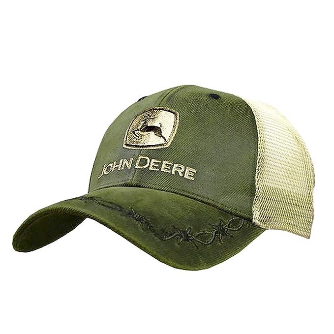 a3fcdfbfd John Deere Mens Oilskin Khaki Mesh Back Embroidered Hat